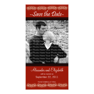 """4x8"""" Elegant Red Save the Date Announcement"""
