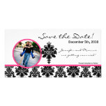 4x8 Engagement Announcement Black Hot Pink Damask Personalized Photo Card