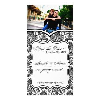 4x8 Engagement Announcement Black White Damask Lac Photo Card