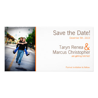 4x8 Engagement Announcement Brown Orange Chevron
