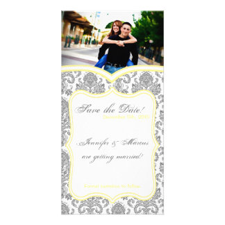 4x8 Engagement Announcement Gray Yello Damask Lace