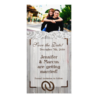 4x8 Engagement Announcement Horse Shoes on Wood