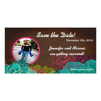 4x8 Engagement Announcement Neon Spring Floral Picture Card