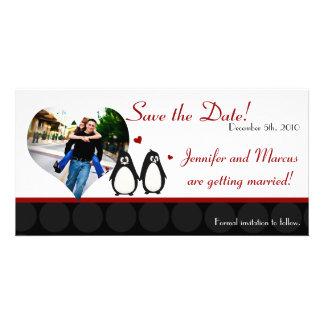 4x8 Engagement Announcement Penguin Love Couple Ma Picture Card