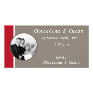 4x8 Engagement Photo Announcement Crimson Red/Gray