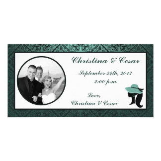 4x8 Engagement Photo Announcement Damask Teal Coup