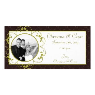4x8 Engagement Photo Announcement Light/Olive Gree