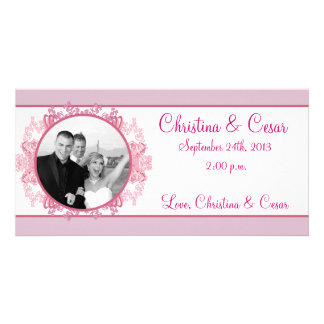 4x8 Engagement Photo Announcement Pink/Purple Chin Photo Card