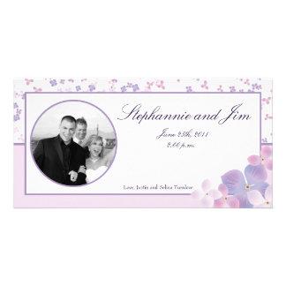 4x8 Engagement Photo Announcement Purple Hydrangea