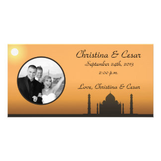 4x8 Engagement Photo Announcement Taj Mahal Sunset