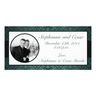 4x8 Engagement Photo Announcement Teal Ornate Dama