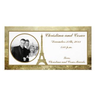 4x8 Engagement Photo Announcement Vintage Paris Personalized Photo Card