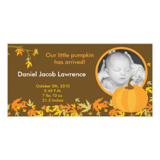 4x8 Fall Pumpkin Leaves PHOTO Birth Announcement