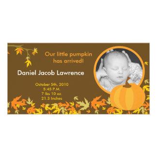4x8 Fall Pumpkin Leaves PHOTO Birth Announcement