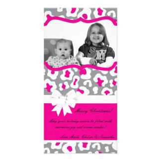 4x8 Gray Pink Cheetah PHOTO Christmas Card
