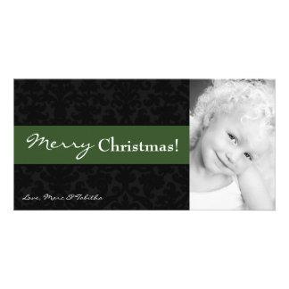 4x8 Green Black Damask Frame PHOTO Christmas Card Photo Card Template