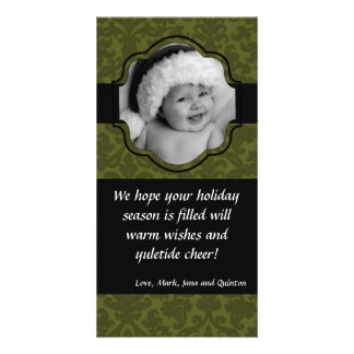 4x8 Green Damask Ribbon Frame PHOTO Christmas Card Customized Photo Card