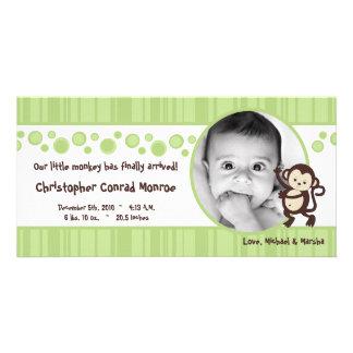 4x8 Green Pop Monkey Neut Photo Birth Announcement