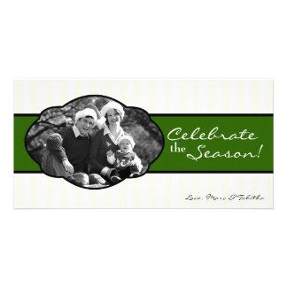 4x8 Green White Striped Frame PHOTO Christmas Card