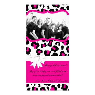 4x8 Hot Pink Black Cheetah PHOTO Christmas Card