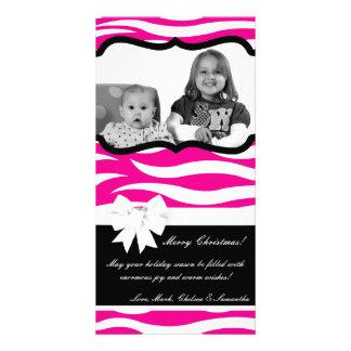 4x8 Hot Pink Black Zebra Prin PHOTO Christmas Card Picture Card
