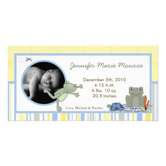 4x8 Leap Frog Turtle Bee Photo Birth Announcement Photo Card