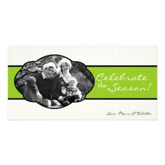 4x8 Lime White Striped Frame PHOTO Christmas Card