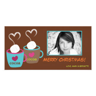 4x8 Modern Cocoa Cups PHOTO Christmas Card
