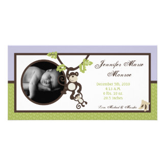 4x8 Monkey Time Jungle Photo Birth Announcement