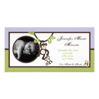 4x8 Monkey Time Jungle Photo Birth Announcement Photo Card