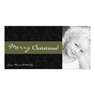 4x8 Olive Green Damask Frame PHOTO Christmas Card