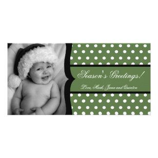 4x8 Olive White Polka Frame PHOTO Christmas Card