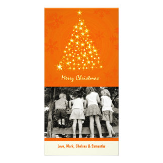 4x8 Orang Snowflake XMAS Tree PHOTO Christmas Card