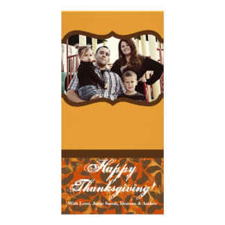 4x8 Orange and Brown Leaves Thanksgiving PHOTOCard Card