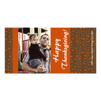 4x8 Orange & Brown Leaves PHOTO Thanksgiving Card