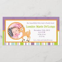 4x8 Photo Birth Announcement Furry Woodland Animal