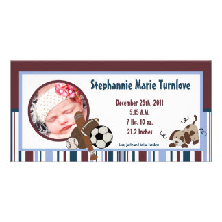 4x8 Photo Birth Announcement Lil League Puppy Dog Photo Card