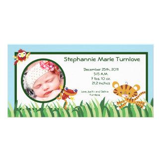 4x8 Photo Birth Announcement Rain-forest Jungle Customized Photo Card