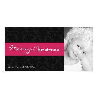 4x8 Pink Black Damask Frame PHOTO Christmas Card