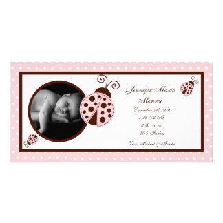 4x8 Pink Ladybug Photo Birth Announcement Photo Cards