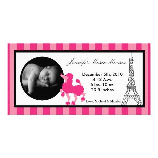 4x8 Pink Poodle Paris Eiffel Birth Announcement Photo Card