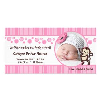 4x8 Pink Pop Monkey Girl Photo Birth Announcement