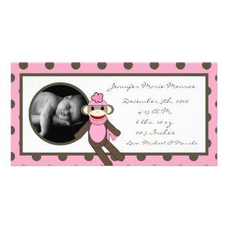 4x8 Pink Sock Monkey Birth Announcement Customized Photo Card