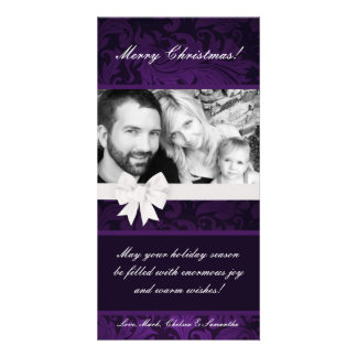 4x8 Purple Floral Bow Ribbo PHOTO Christmas Card Photo Card