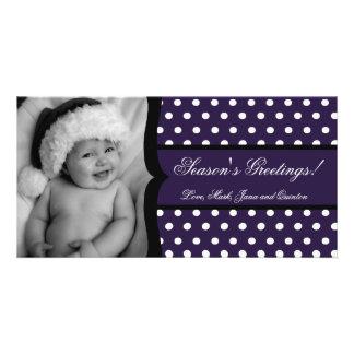 4x8 Purple White Polka Frame PHOTO Christmas Card