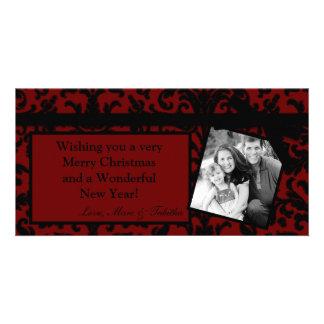 4x8 Red Damask Ribbon Frame PHOTO Christmas Card