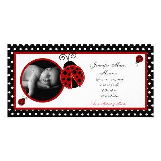 4x8 Red Ladybug Photo Birth Announcement