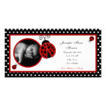 4x8 Red Ladybug Photo Birth Announcement Photo Cards