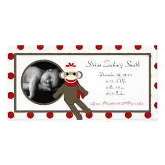 4x8 Red Sock Monkey Birth Announcement