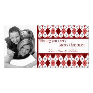 4x8 Red White Argyle Frame PHOTO Christmas Card